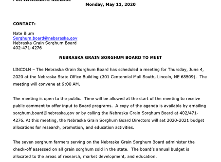 Nebraska Grain Sorghum Board to Meet, June 4th in Lincoln
