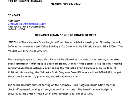 Nebraska Grain Sorghum Board to Meet, June 4th in Lincoln