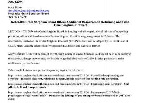 NGSB and USCP Offer Additional Resources to Returning and First-Time Sorghum Growers