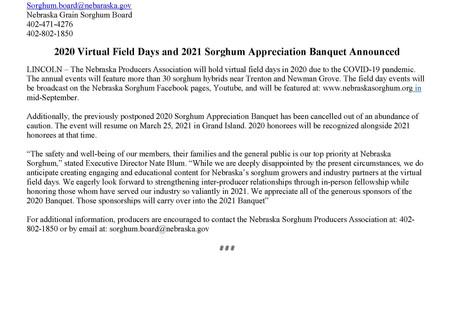 2020 Field Days to Go Virtual - 2021 Banquet Announced