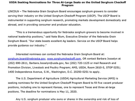 Want to get involved with sorghum at the national level? Now's your chance!