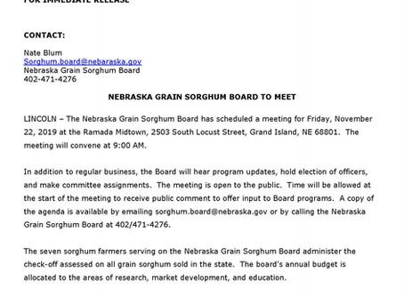 Nebraska Grain Sorghum Board to Meet in Grand Island November 22