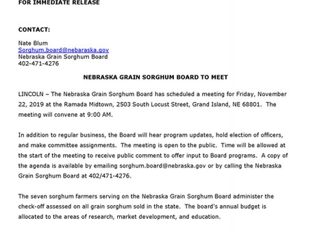 Nebraska Grain Sorghum Board to Meet in Grand Island November 22