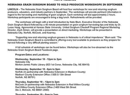 Nebraska Grain Sorghum Board to Hold Producer Workshops in September