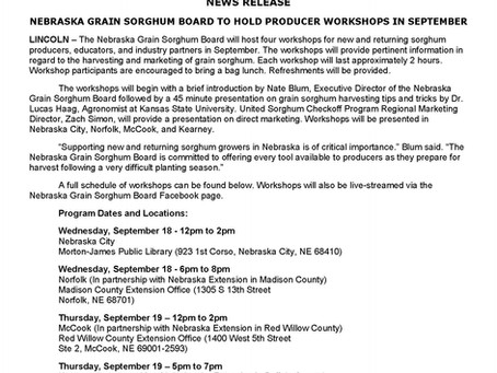 Nebraska Grain Sorghum Board to Hold Producer Workshops in September