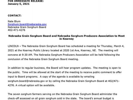 Nebraska Grain Sorghum Board to Meet