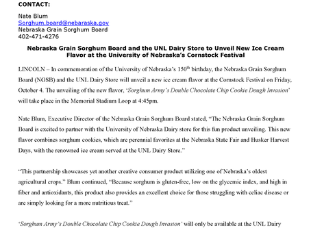 NGSB and the UNL Dairy Store Partner to Unveil New Gluten-Free Ice Cream Flavor