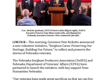 Governor Ricketts Announces Joint Partnership between NeSPA and NDVA.