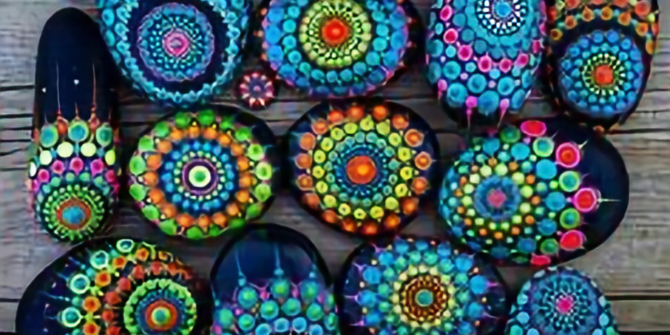 All Ages Mandala Glow in the Dark Rock Painting Class