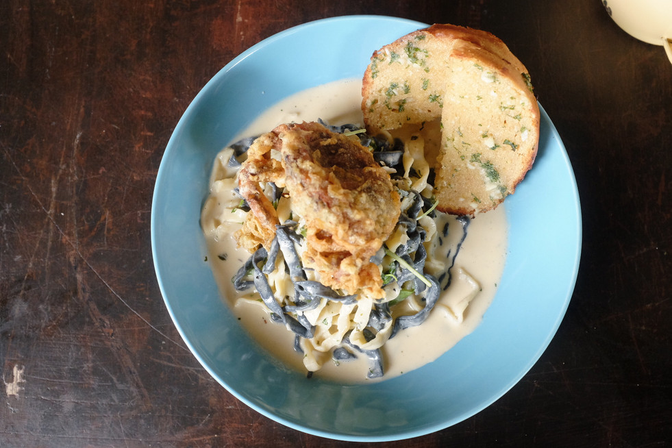 salted egg soft shell crab pasta
