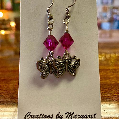 Pink Bead Butterfly Earrings