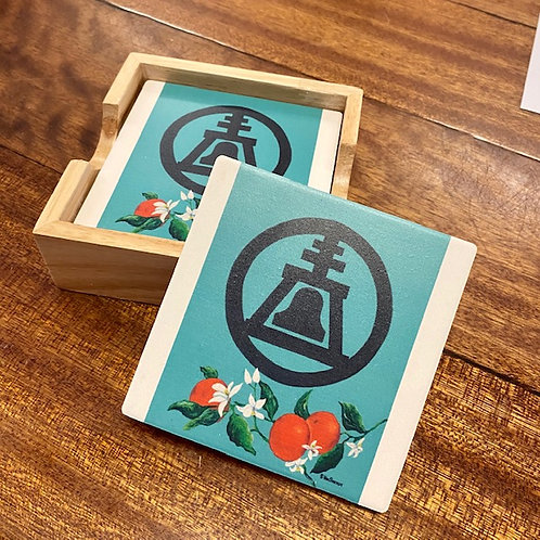 Teal Raincross Coaster Set