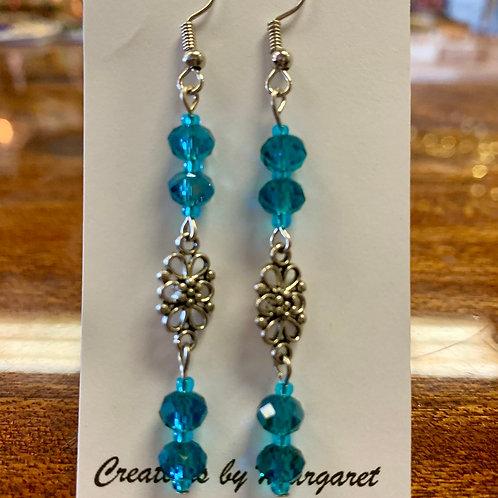 Blue Bead Flower Earrings