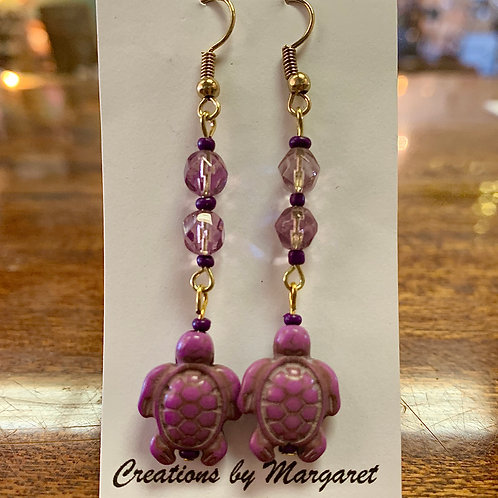 Purple Turtle Earrings