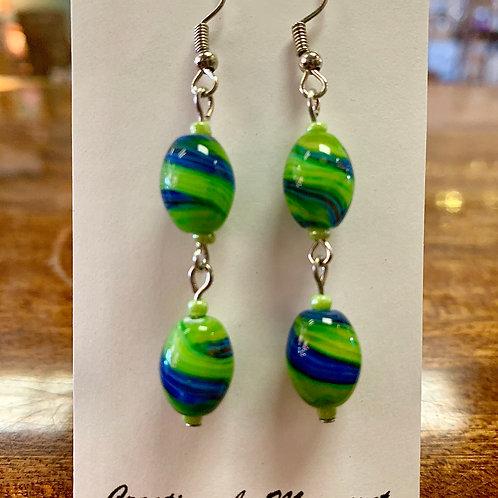 Blue & Green Bead Earrings