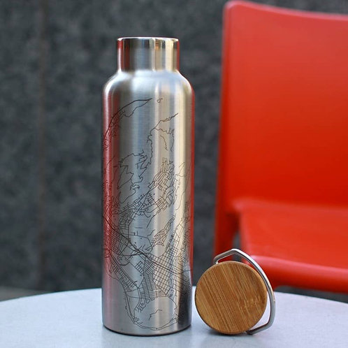 Riverside Map Bottle with Bamboo Top