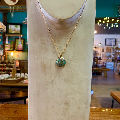 Aqua Shell Necklace
