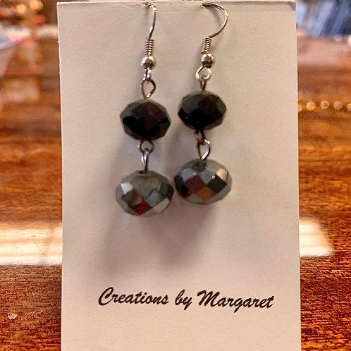 Black & Sliver Bead Earrings