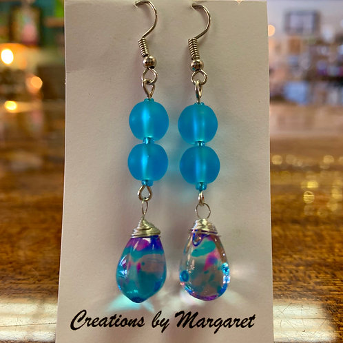 Blue Bead Earrings