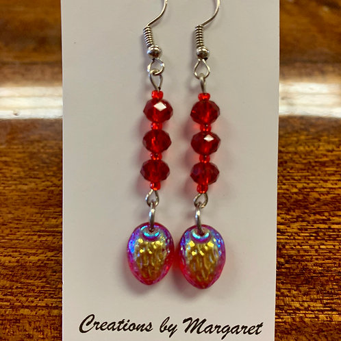 Red Bead Holographic Earrings