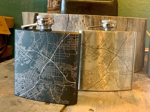 Riverside Map Hip Flask