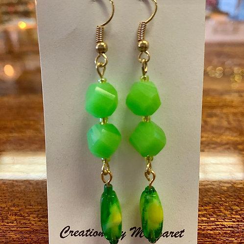 Green Bead Dangle Earrings