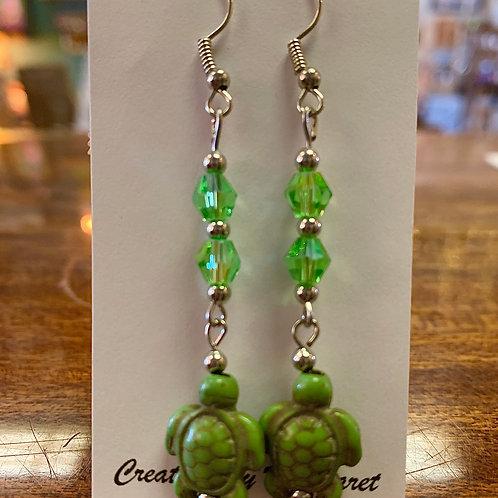 Green Turtle Earrings