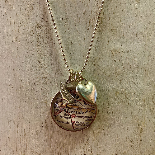 Map of Riverside Charm Necklace