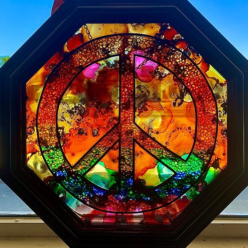 Peace Sign Glass Wall Art