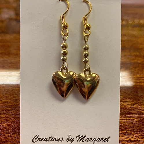 Gold Heart Dangle Earrings