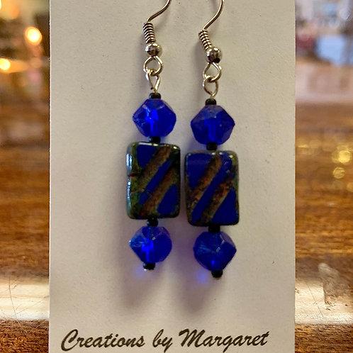 Blue & Gold Striped Dangle Earrings