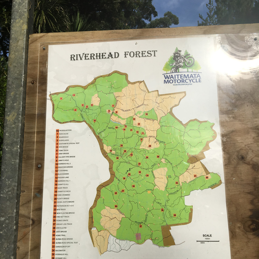 Map showing all the motorbike trails at entrance.