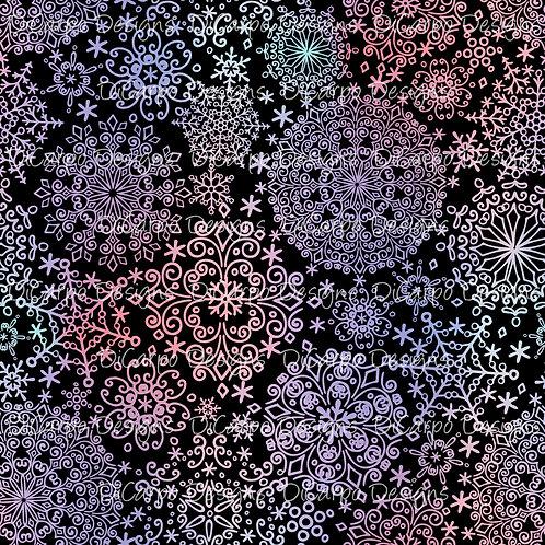 Frosty Snowflakes on Black