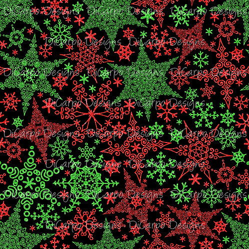 Red & Green Snowflakes on Black