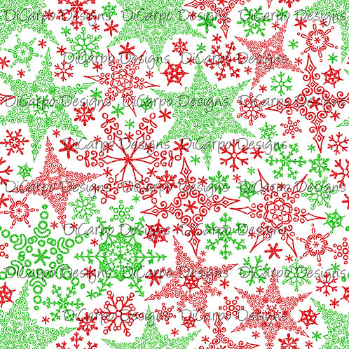 Red & Green Snowflakes on White