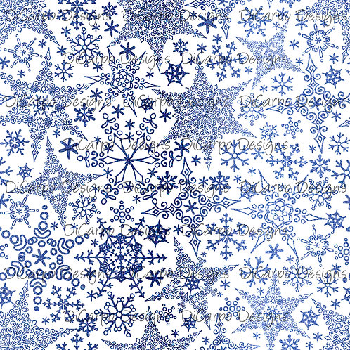 Glacial Snowflakes on White