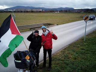 #WalkToPalestine – Botschafter Salah Abdel Shafi begleitet  Benjamin Ladraa heute