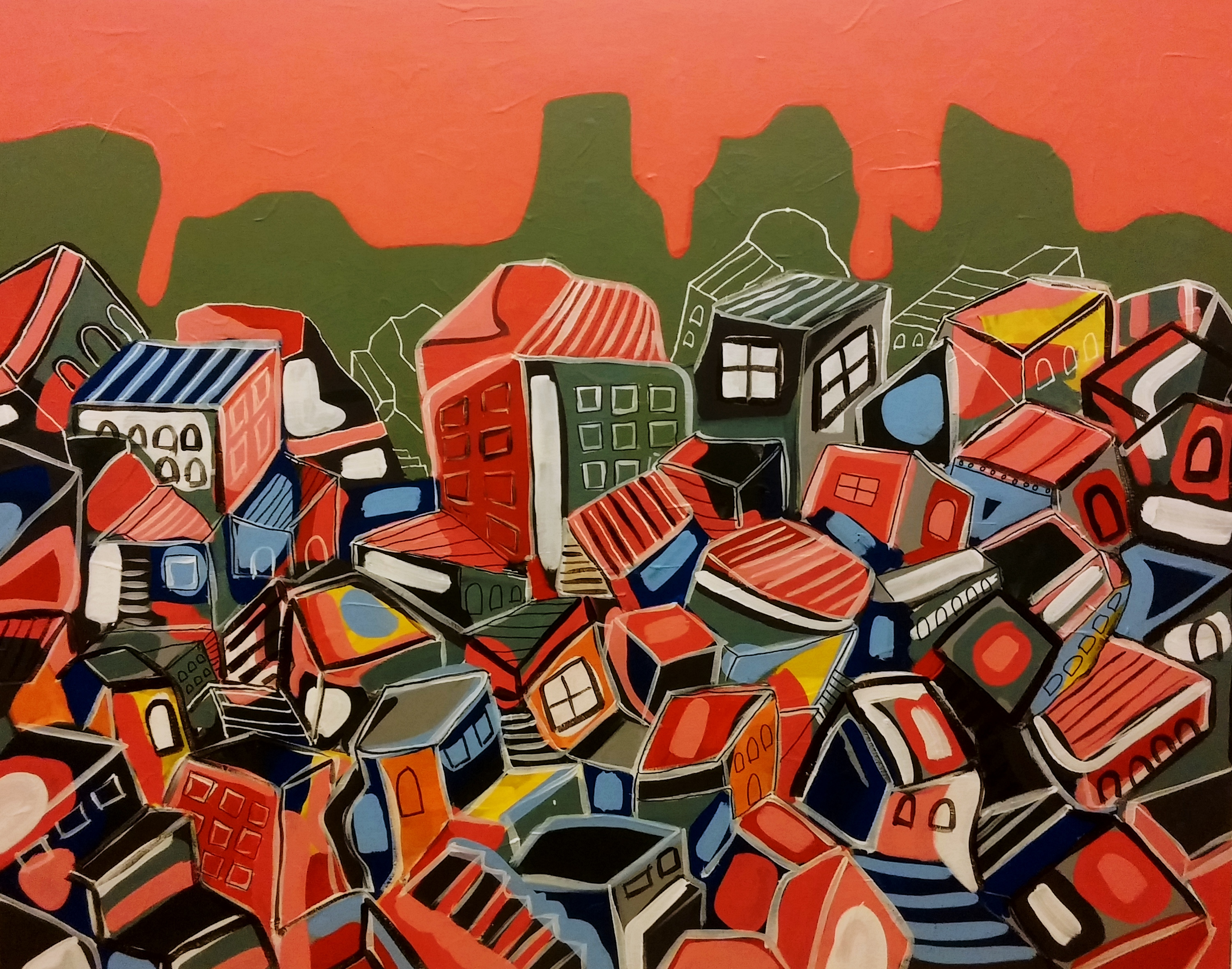 Pile of Houses Acrylic on Canvas 95cmx 125cm