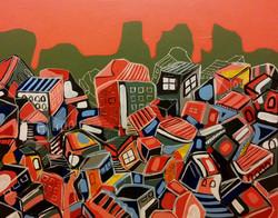 Pile of Houses Acrylic on Canvas 95cmx 125cm