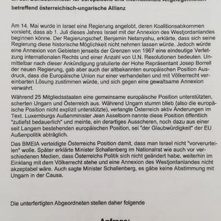 Parlamentarische Anfrage: Österreichisch-ungarischen Allianz verhindert EU-Position bezüglich Israel