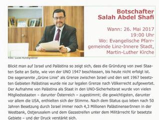 Veranstaltungshinweis: Vortrag von Botschafter Salah Abdel Shafi am 26. Mai 2017 in Linz