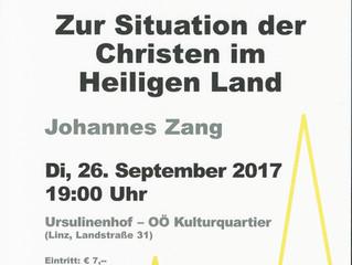 Veranstaltungshinweis: Vortrag von Johannes Zang in Linz