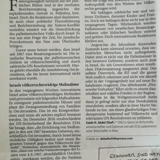 Botschafter Salah Abdel Shafi in der Wochenend-Ausgabe der Presse: