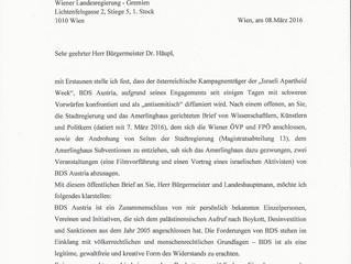 Offener Brief an Bürgermeister Dr. Häupl von Botschafter Salah Abdel Shafi zur Diffamierung von BDS