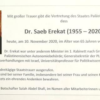 Dr. Saeb Erekat (1955 - 2020)