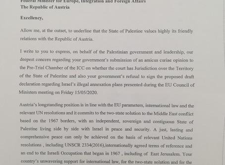 Brief vom palästinensischen Außenminister Riad Malki an den österreichischen Außenminister Alexander