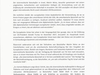 Pressemitteilung: Österreichischer Botschafter in Israel stellt sich gegen die Haltung der EU
