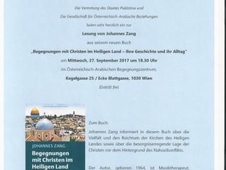 Herzliche Einladung zur Lesung von Johannes Zang am 27. September 2017
