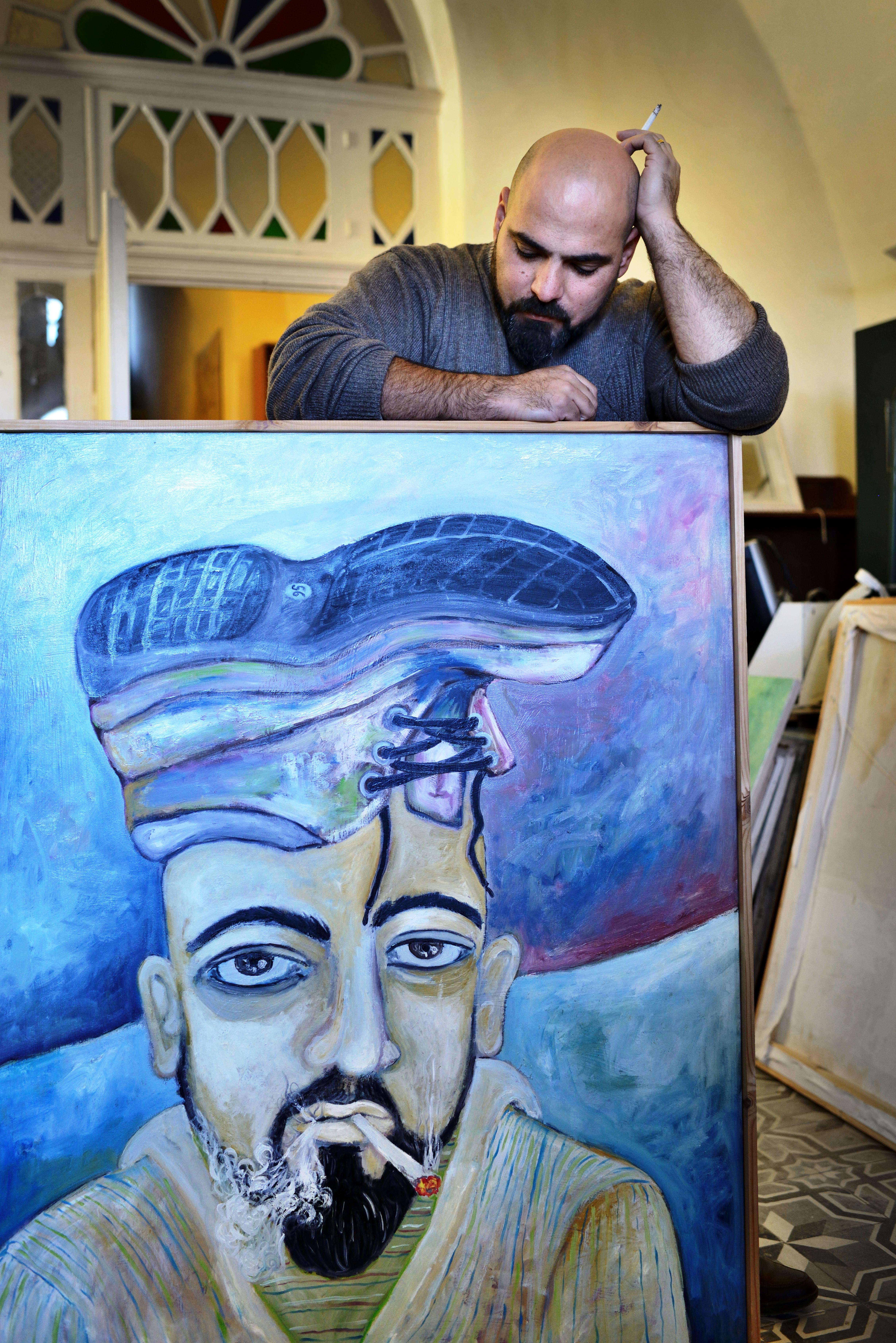 Bashir Qonqar in seinem Atelier in Beit Jala