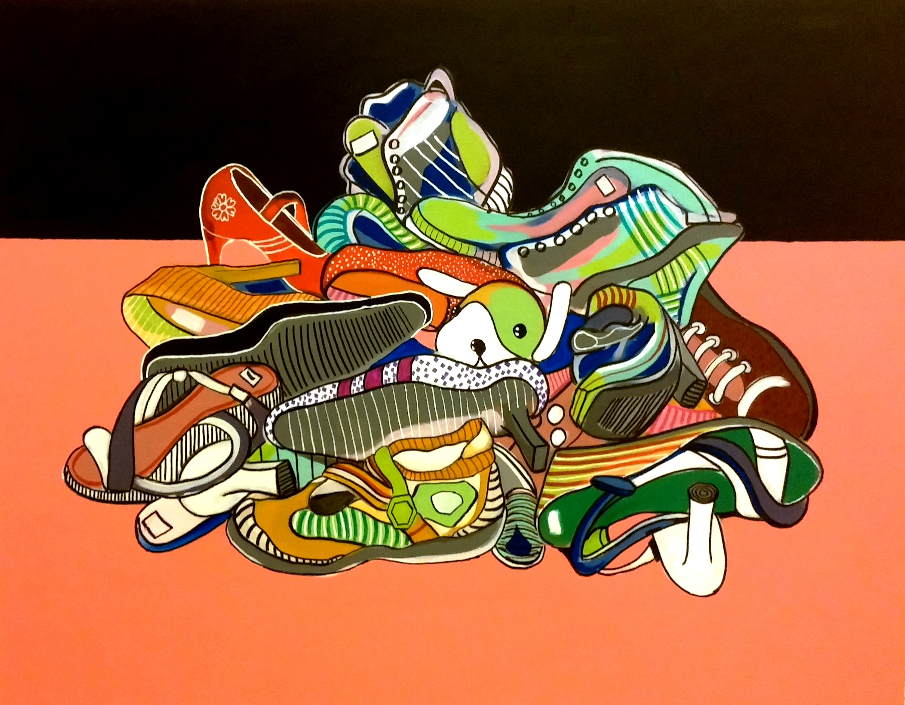 Pile of shoes 95cmx125cm
